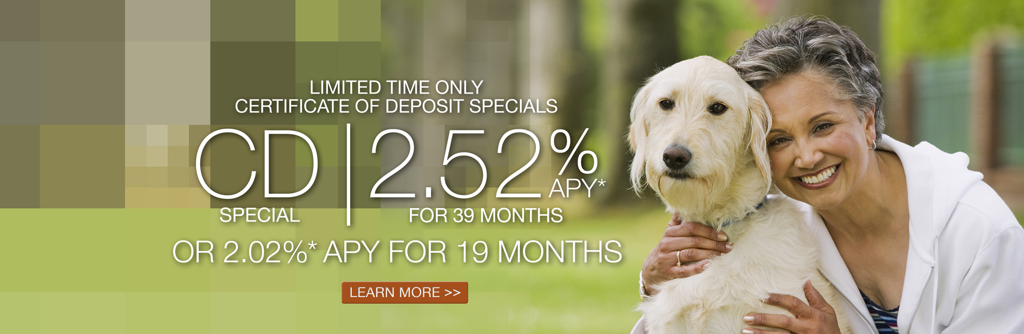 Limited time only Certificate of Deposit Specials: 2.52%* APY for 39 months or 2.02%* APY for 19 months. Click to learn more.
