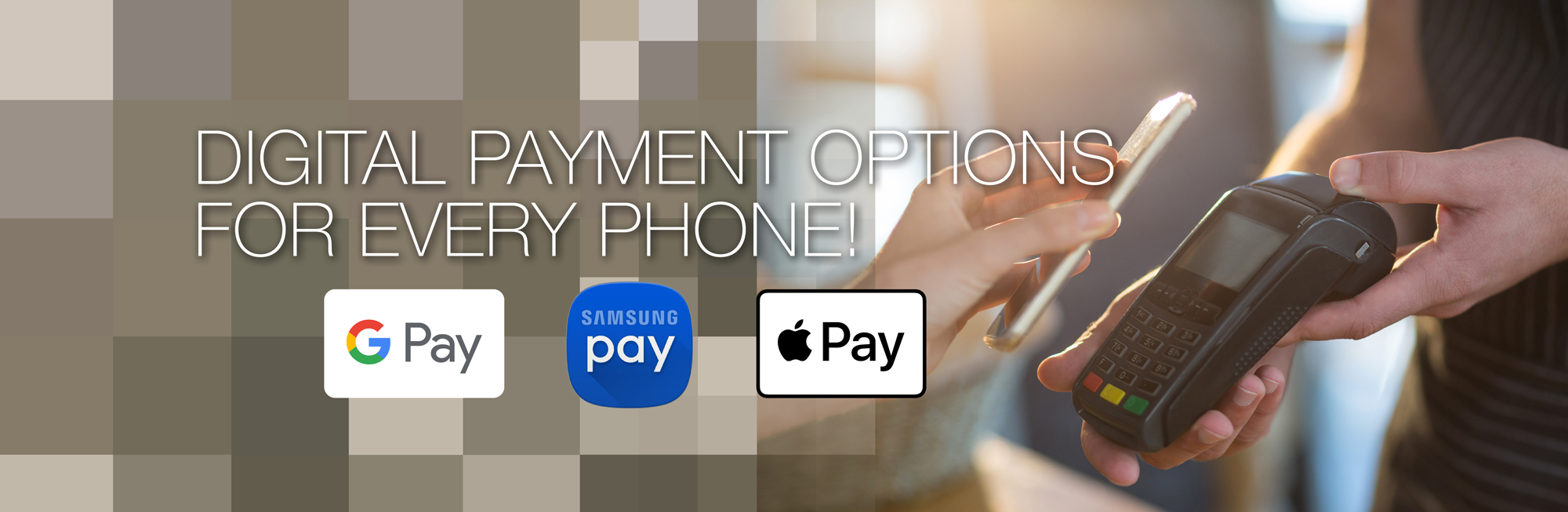 Encrypt your West Community Credit Cards and Debit Cards with the digital wallet of your choice. Samsung Pay, Google Pay or Apple Pay substitute your plastic card at millions of places – online and in stores. Click to learn more.