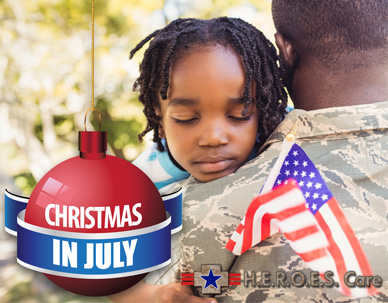 Christmas in July Donation Drive in partnership with H.E.R.O.E.S Care to benefit deployed military and their families at home.